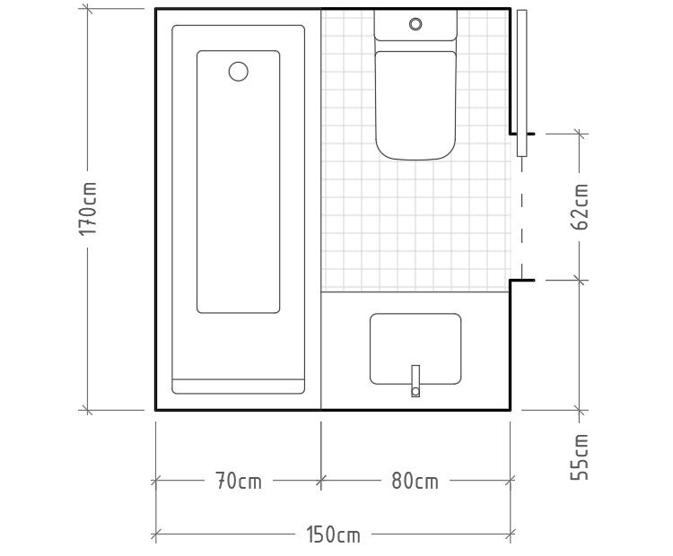 I - Baño mínimo con inodoro y lavabo con encimera enfrentados, con bañera al fondo. Con 170cm de ancho y 70cm de fondo podemos optar por algunas de las bañeras y duchas más grandes del mercado, pero también podríamos poner una ducha más pequeña con una zona de secado.