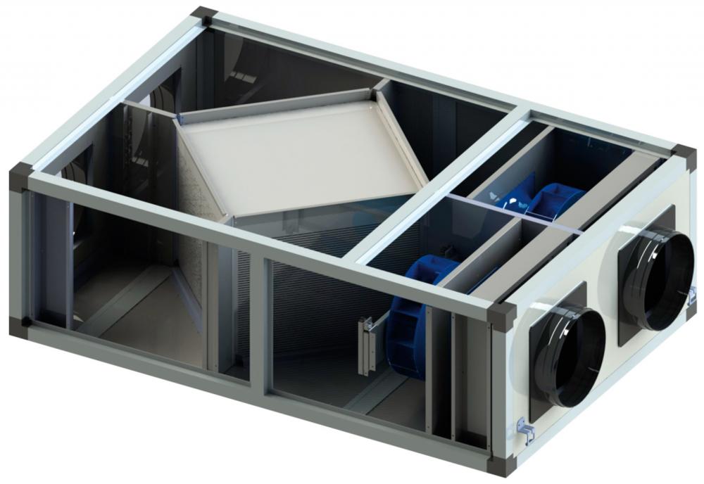 Vista interior de una máquina de ventilación forzada con recuperador de calor, en el centro se encuentra el recuperador