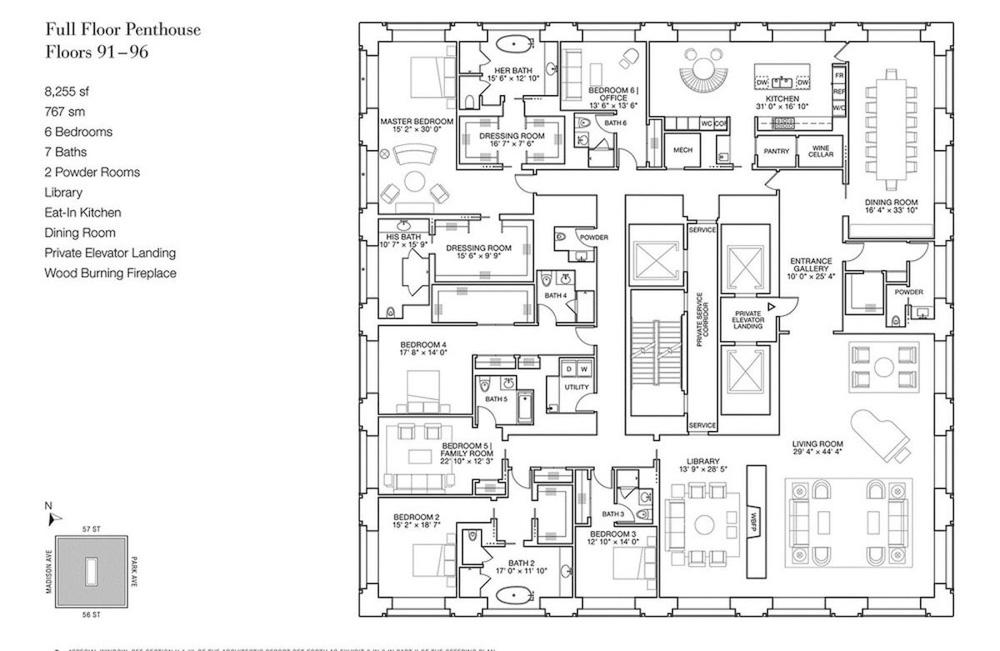 Planta de una vivienda de 767 metros cuadrados