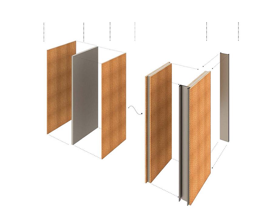 Paneles multicapa acústicos, con revestimiento activo y resistentes al fuego para particiones interiores.