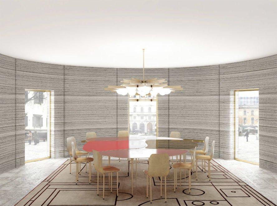 Interior de una vivienda impresa en 3D.
