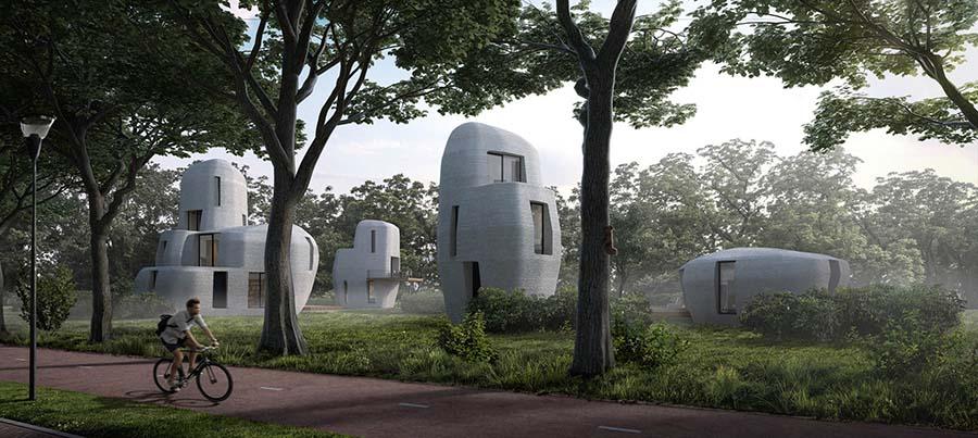 Las viviendas del proyecto Milestone recuerdan a enormes piedras en medio de la naturaleza.