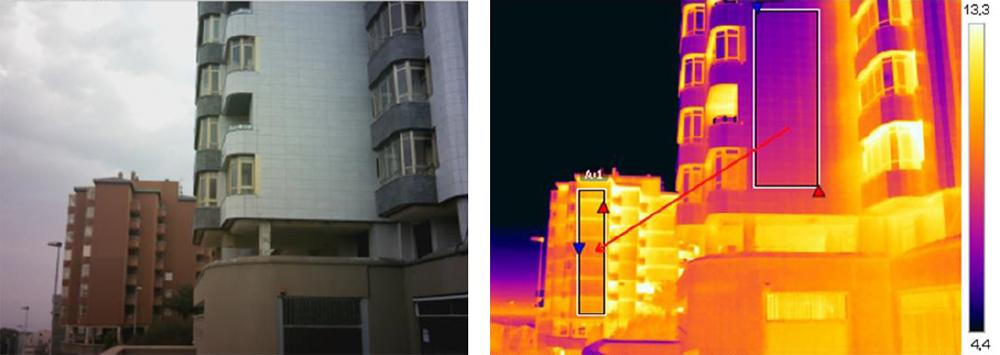 Comparación a través de una termografía de dos edificios, uno con rehabilitación energética con introducción de lana de roca (derecha) y otro sin rehabilitar (izquierda). Se observa como el edificio de más al fondo o izquierda pierde mucho calor a través de la fachada. Fuente: Sergio Melgosa, termógrafo