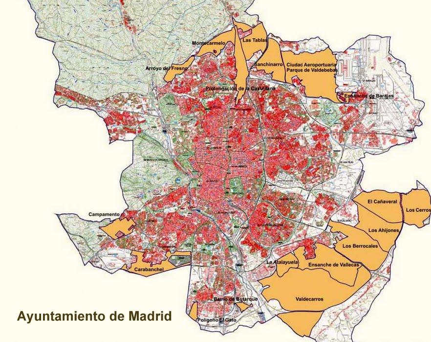 En naranja, los PAUS de Madrid previstos en el PGOUM 97.