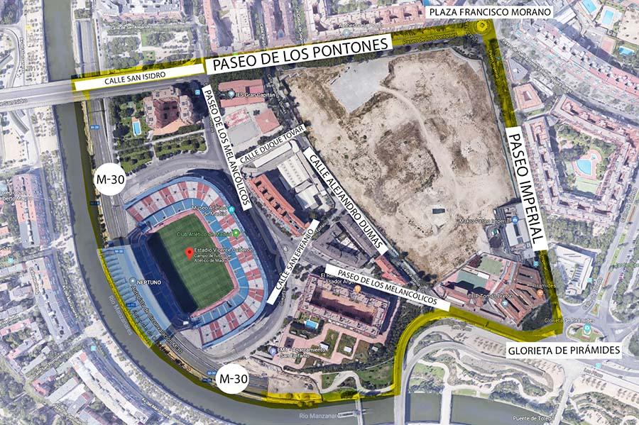 Vista aérea de la zona afectada por la operación Mahou-Calderón.