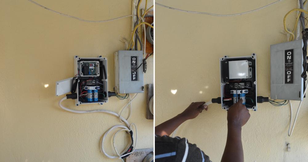 Utility technician installing pilot LET meter.