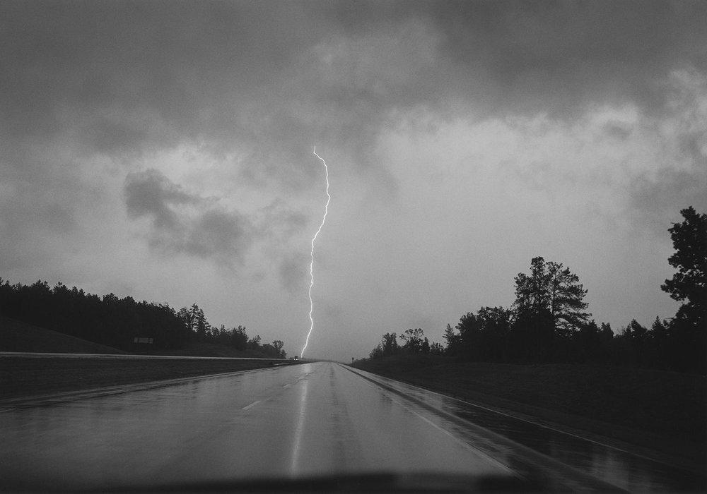 Lightning Strike, Mississippi, 1994.Gelatin silver print. © Mark Steinmetz, Courtesy of the Artist and Yancey Richardson Gallery.