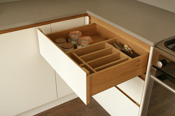 A bespoke drawer box from European oak in a standforth kitchen