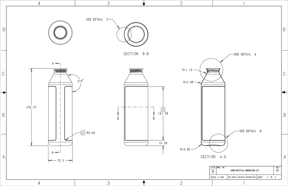 The original designs for MiiR's first water bottle