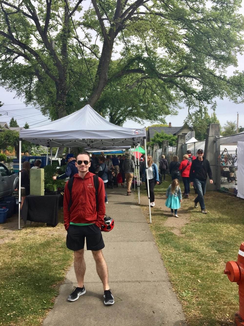 Pit stop at the Farmer's Market, jacket by Arc'teryx