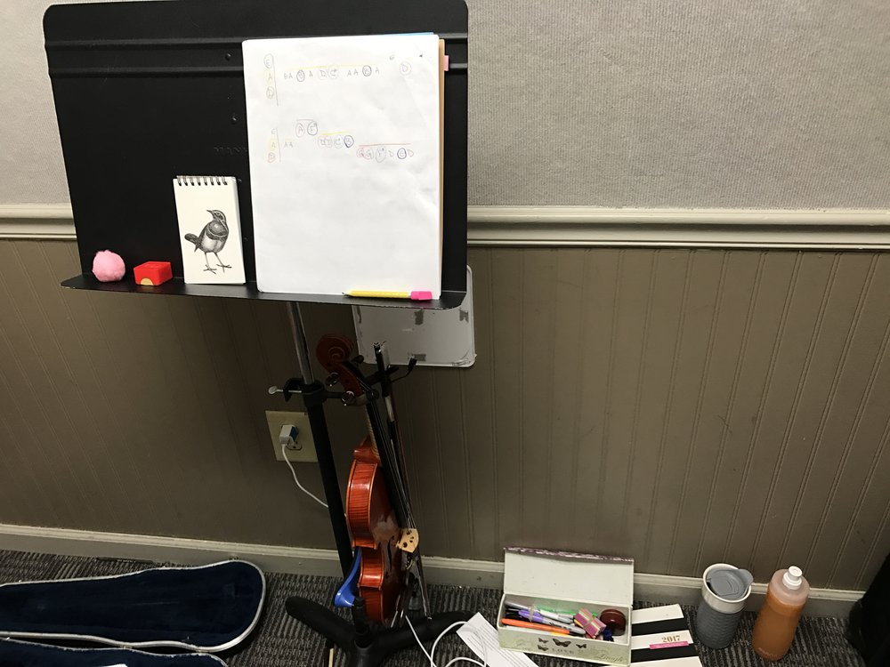 music stand and violin
