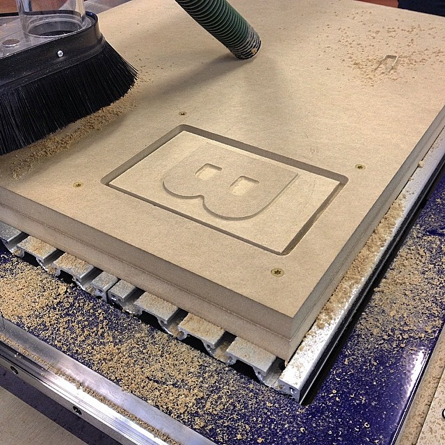 Penland got a shopbot! Some techs came yesterday to run us through their software and show off their fancy MDF camouflage hold down screws. #cnc #penland  (at Penland School of Crafts)