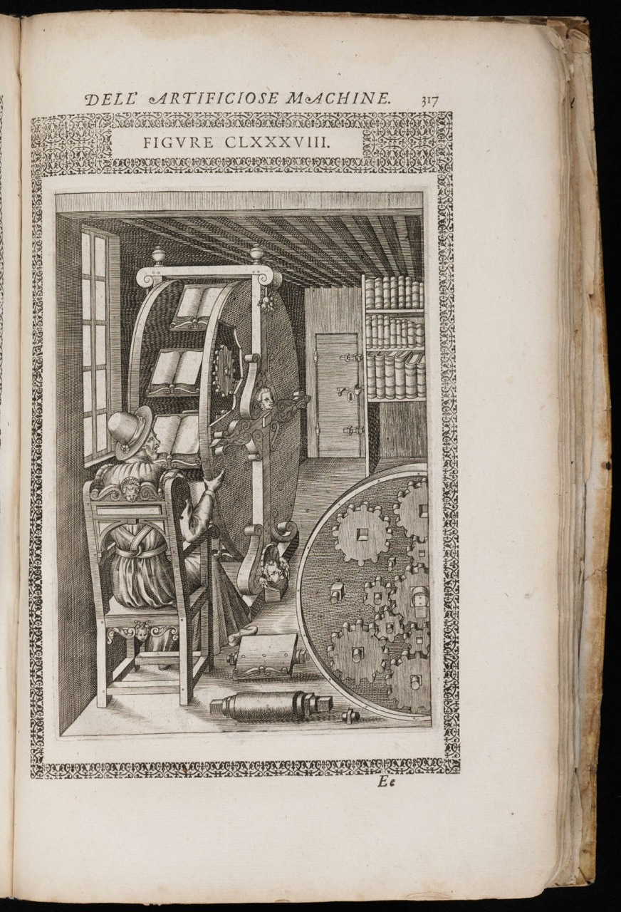 erikkwakkel :      The ultimate book gadget    This may just be the most profound book gadget in history. The image from 1588 shows the book wheel invented by the Renaissance engineer Agostino Ramelli. The idea was to give a scholar the opportunity to consult several books at the same time, each remaining open at the page that was consulted last. The version in the image contains about twelve books, all well balanced as the giant wheel turned. In the age of small desks, this device was a revelation. It encouraged people to craft studies in the modern sense of the word, using a variety of sources that were discussed simultaneously in a scholarly treatise. I have sat behind a smaller version surviving from the 17th century (placed in a 17th-century library) and it is quite an overwhelming experience to see all those books spin before your eyes. Knowledge overload.   Pic: The Diverse and Artifactitious Machines of Captain Agostino Ramelli, a book of engineering designs from 1588.     If you dont follow erikkwakkel, maybe you should!