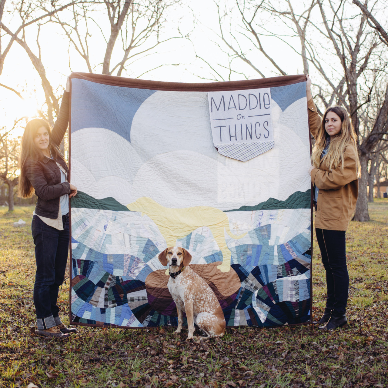 maddieonthings :     Morning y'all! Check out this amazing quilt my friend  Molly Evans  hand made! If you can make it out to a book signing around the country it will be hanging up at each stop   And! If you're in Boston come say hi tonight @  Brookline Booksmith  @ 7pm!     www.mollyeeeee.com       This here is the quilt Molly made for Maddie and Theron! I sure do love her!