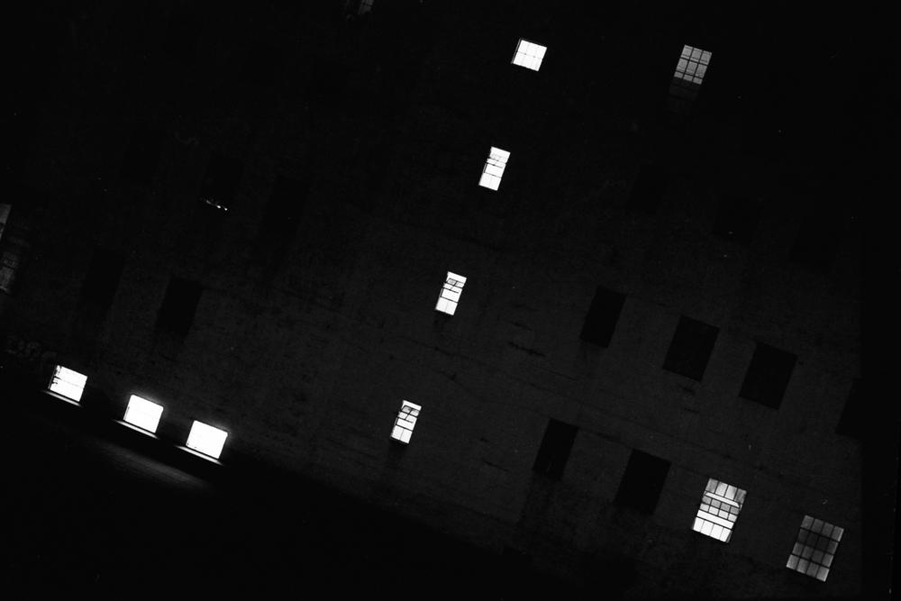 Lights on at night in DTLA