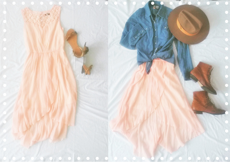 Dress: Lily Rose (FOR SALE!)  Sandals, Denim Shirt, Hat, and Boots: Thrifted