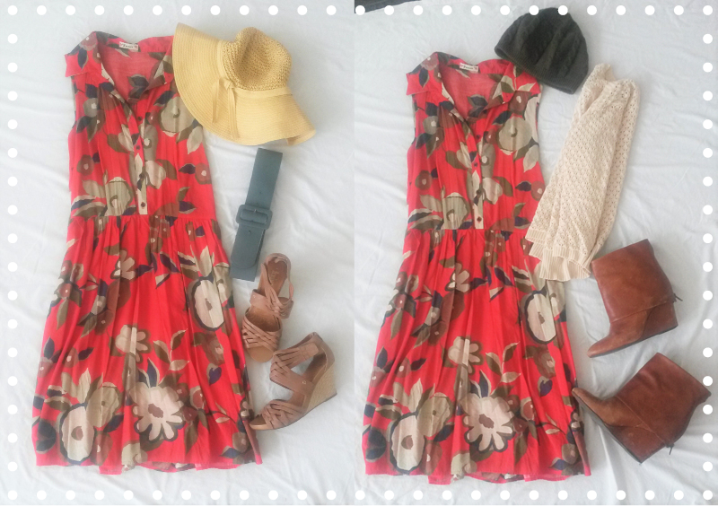 Dress: Forever 21 (like 9 years ago)   Sunhat, Belt, Sandals, Beanie, Cardigan, Boots: Thrifted