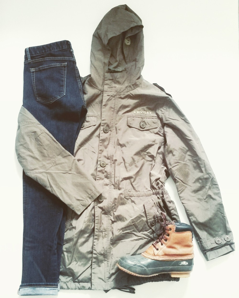 Bambini brand weather resistant army green jacket, Gap 1969 jeans, Thermalite boots, all thrifted