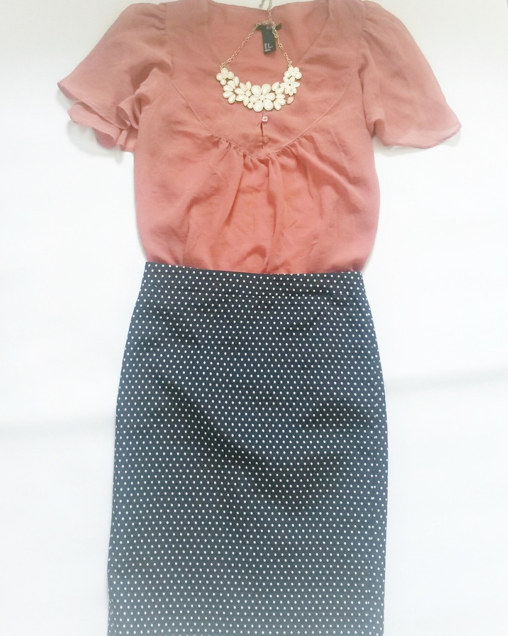H&M dusty rose blouse, J. Crew polka dot skirt (new with tag), white statement necklace, all thrifted