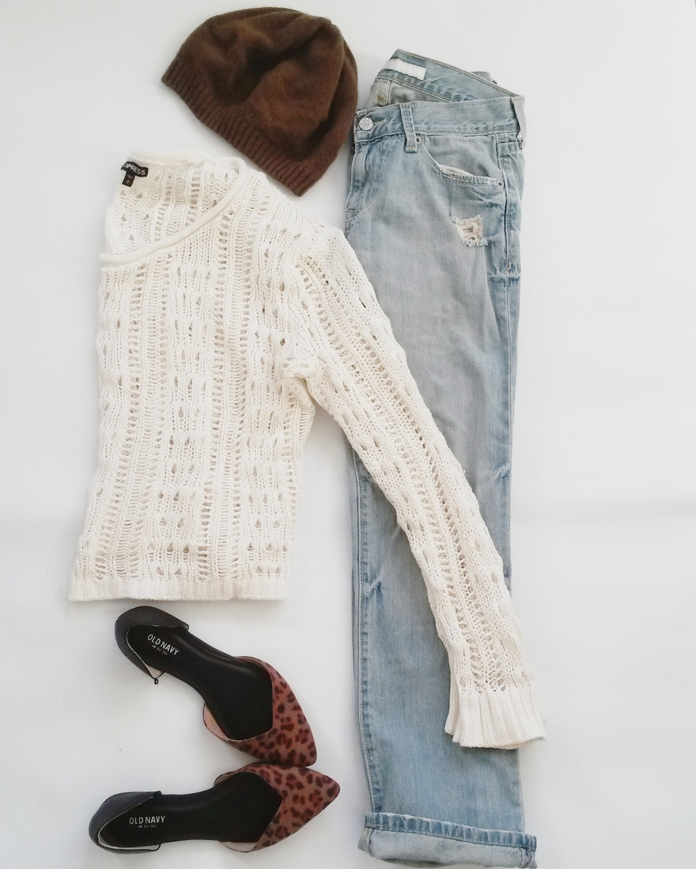 Brown beanie, Express crochet sweater, Old Navy leopard flats, Old Navy boyfriend jeans, all thrifted