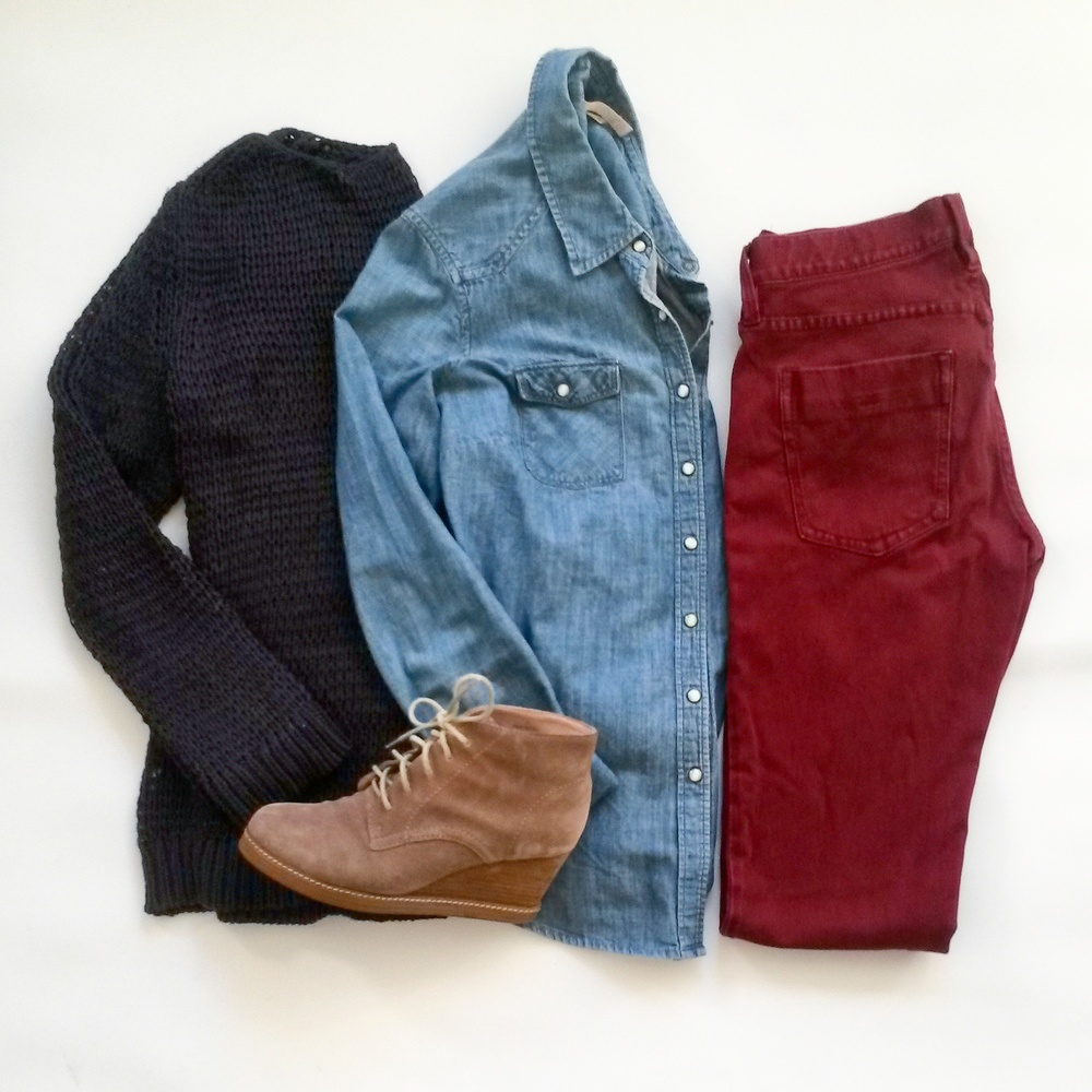 Navy Gap sweater, Route 66 denim shirt, J. Jill booties, burgundy skinny jeans, all thrifted