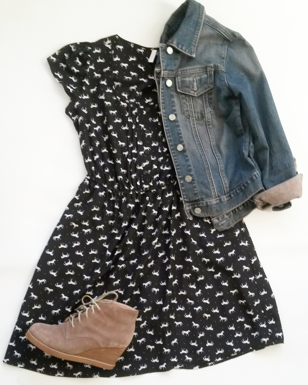 Xhiliration horse dress,  Gap denim jacket, J. Jill booties, all thrifted