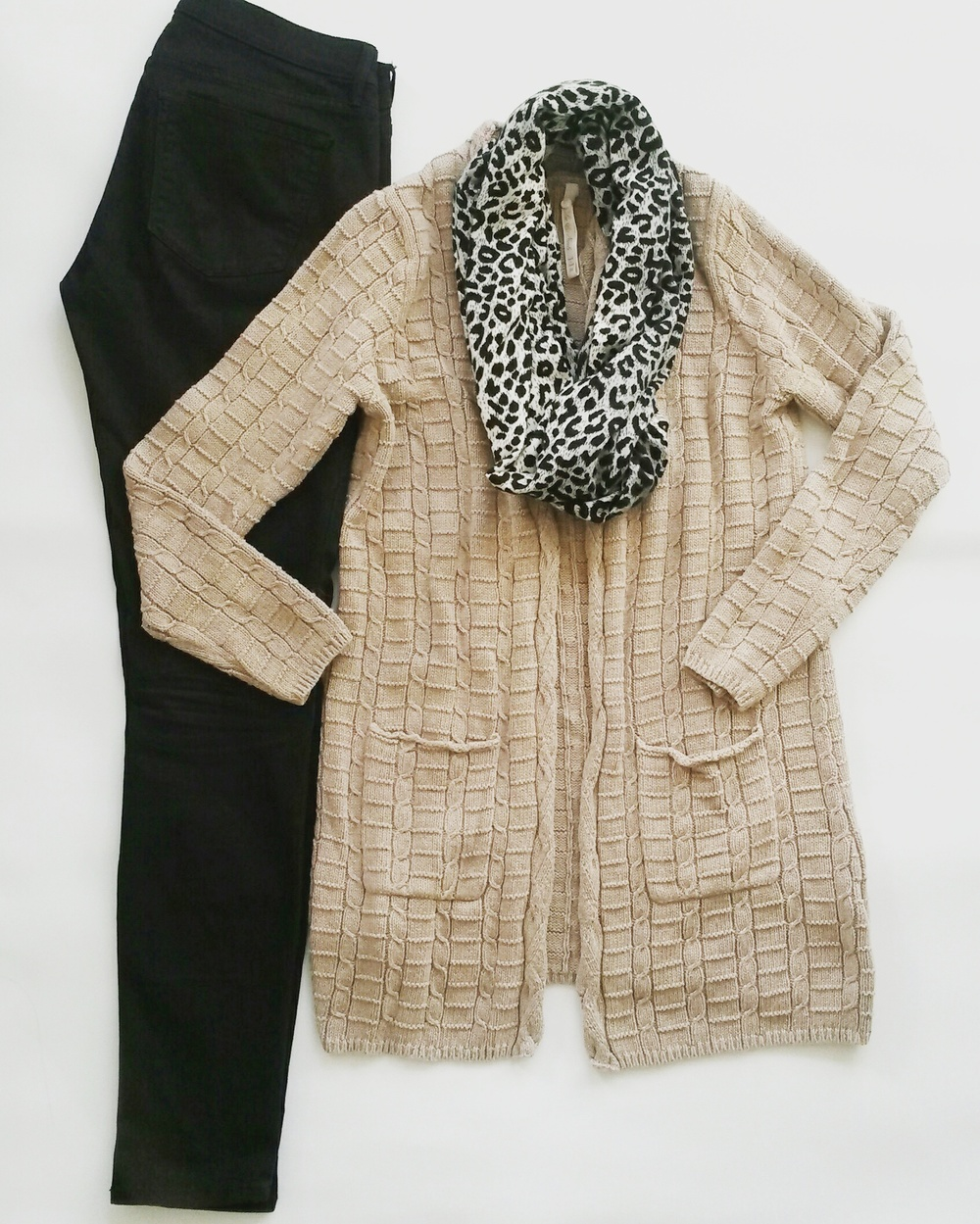 Tan cardigan, leopard print scarf, thrifted; Gap black skinny jeans