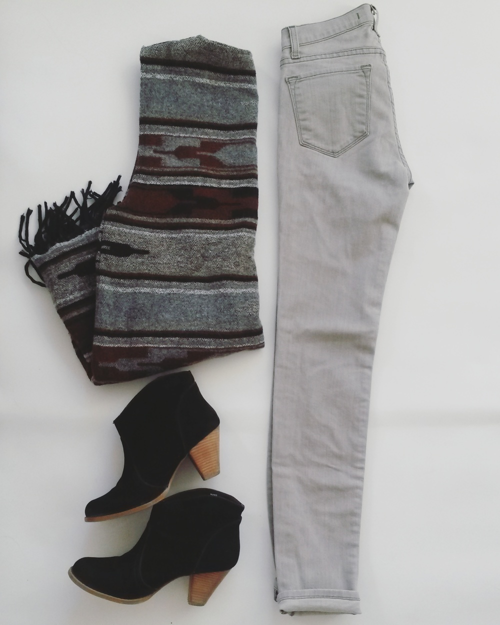 Chico's wool tribal vest, J Brand gray skinny jeans, black booties, all thrifted