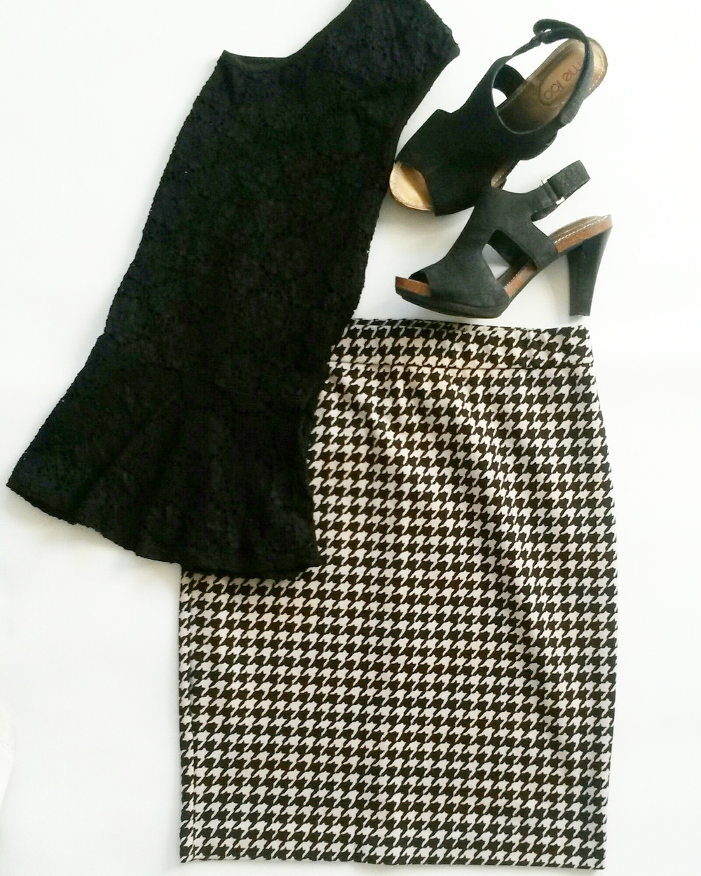 Black peplum lace top, houndstooth pencil skirt, black suede cutout heels, all thrifted