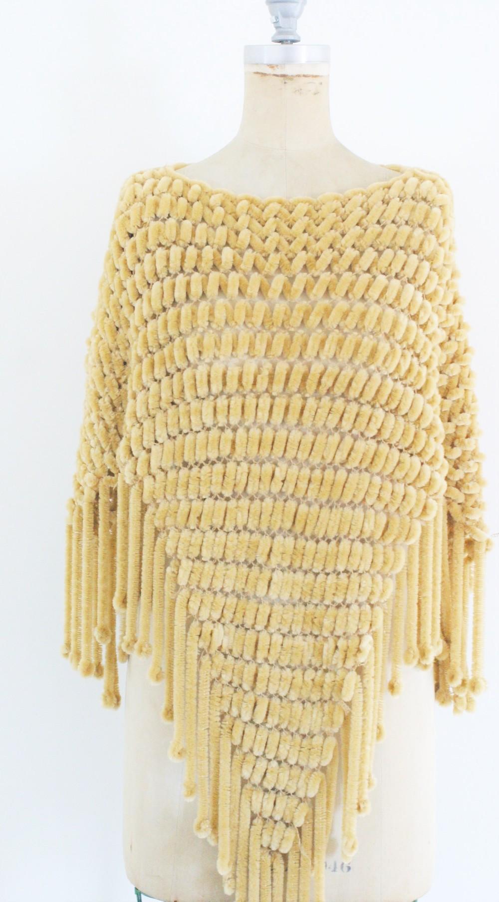Gold chenille 70s poncho