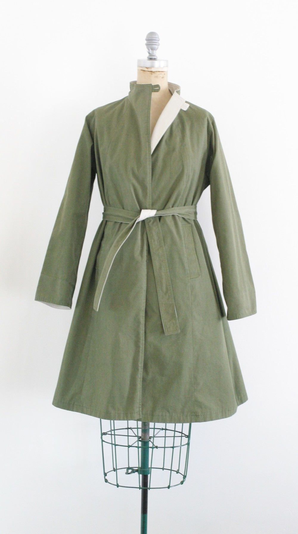 Reversible army green trench coat