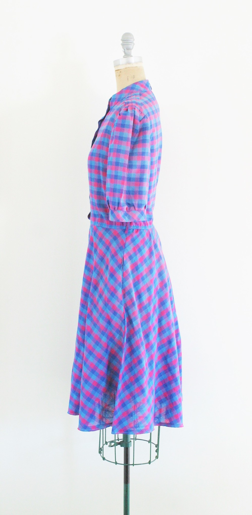1950s purple and pink plaid dress