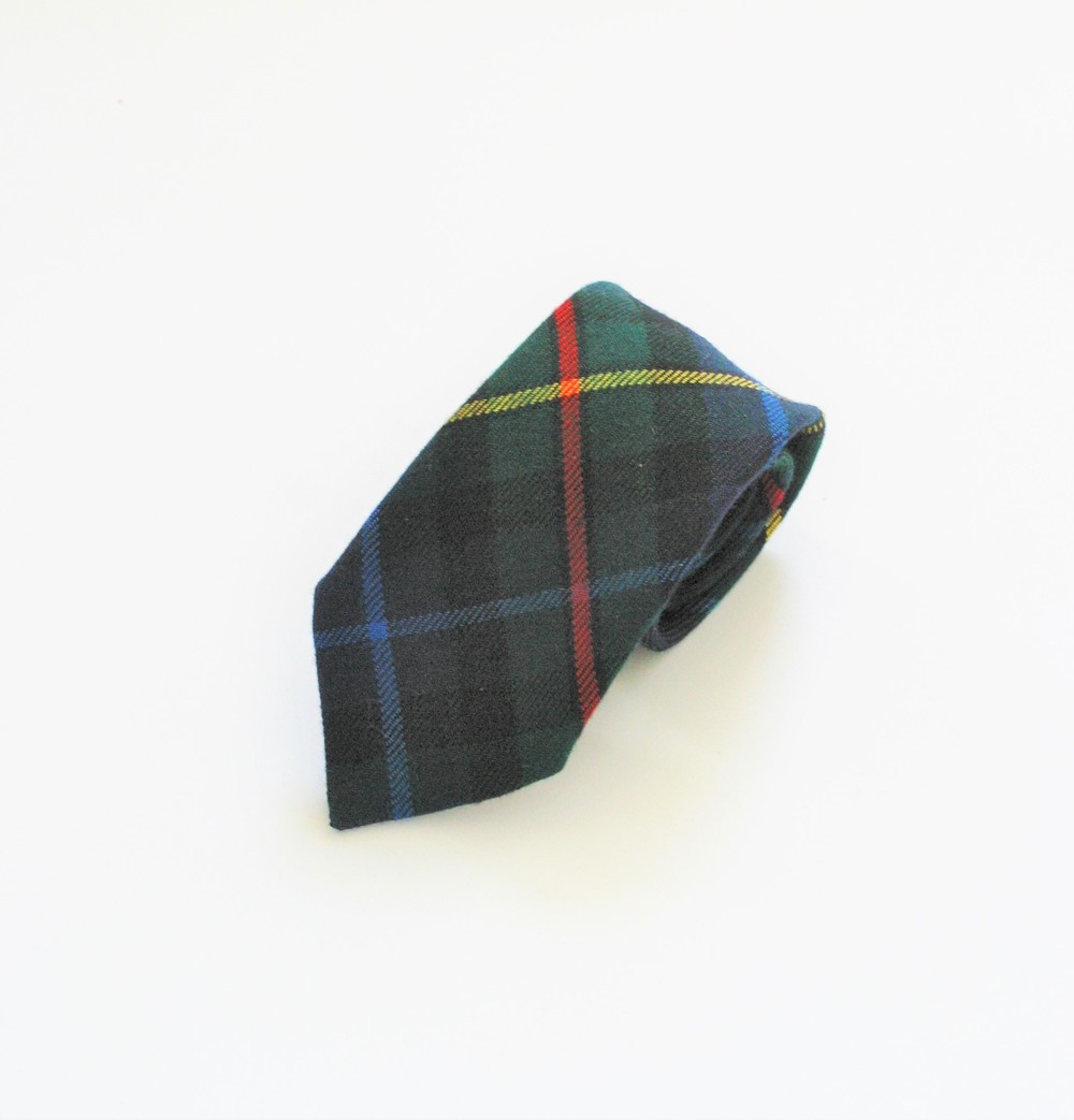 Green wool plaid necktie