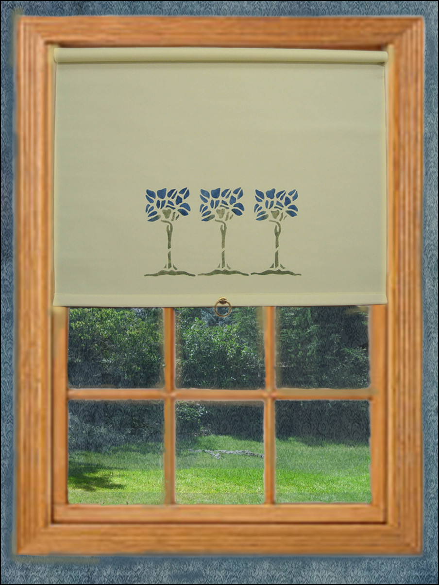 Most shade are mounted within the window frame like this ecru cotton shade with a blue tree stencil. This is a back roll shade that would provide a close seal to the window.