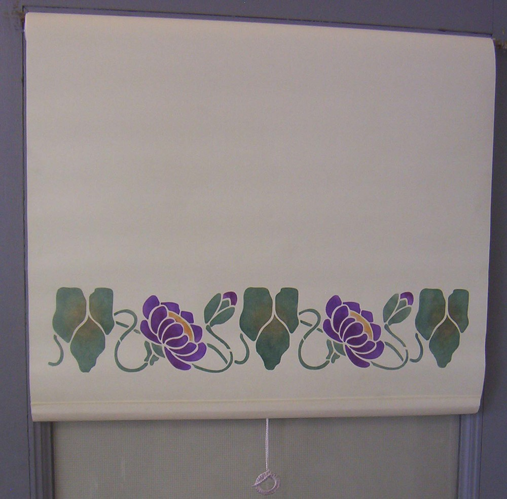 Here is a front roll shade with the Water Lily border & a traditional crochet pull, outside mounted on a door.