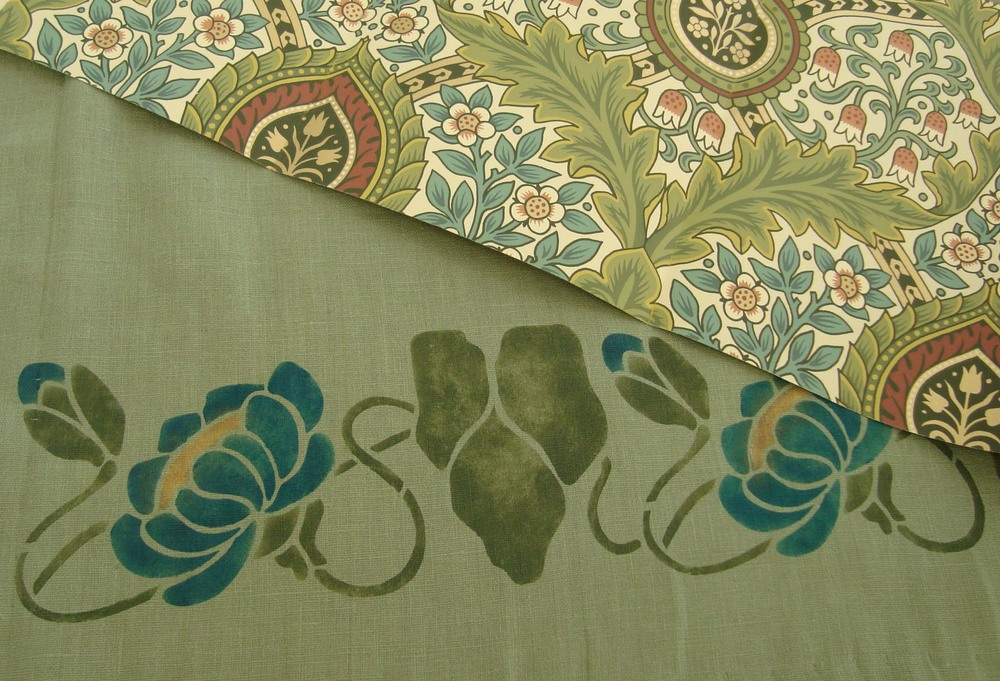 Water Lily border stencil with Bradbury Knightsbridge Damask