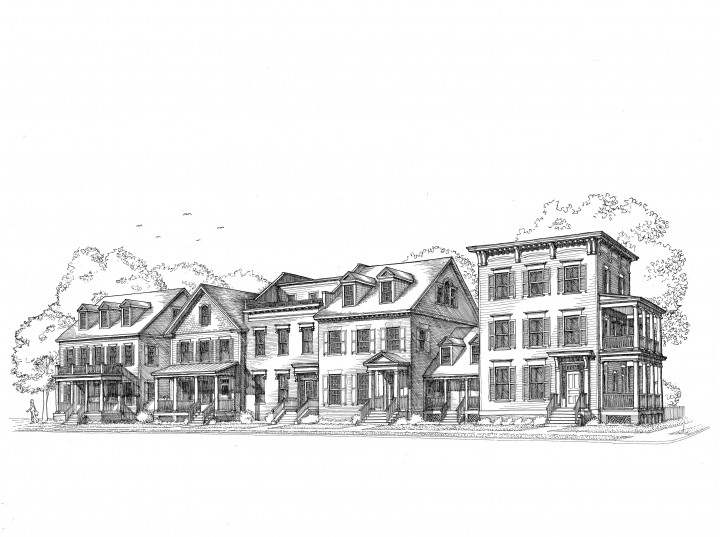 This is our architect's original conceptual rendering of The Beacon Hill Collection, with architecture inspired by the best of Georgetown, Old Town Alexandria, and some of Boston's historic neighborhoods.