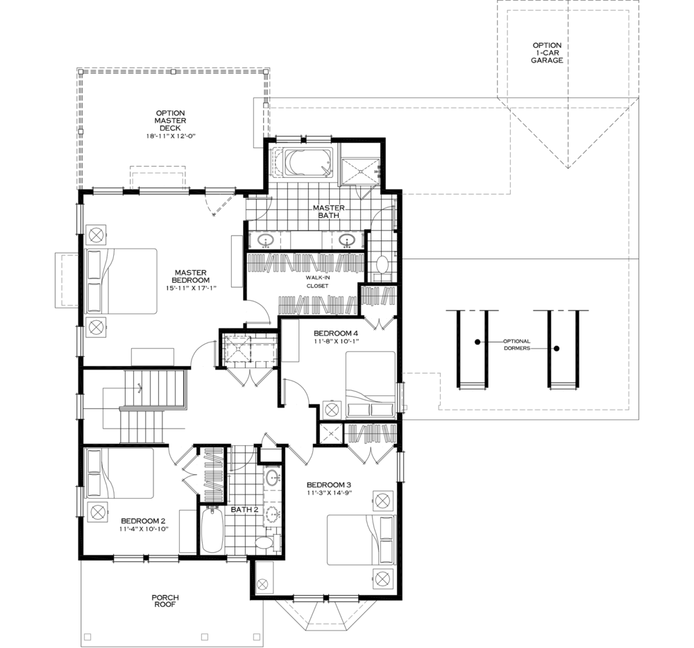 Second Floor with Optional Extended Master Closet