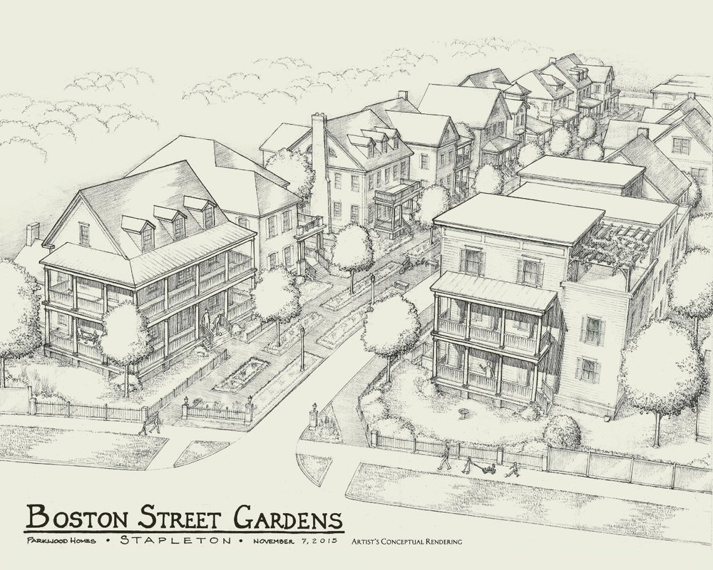 Daniel's original sketch of Boston Street in Wicker Park.