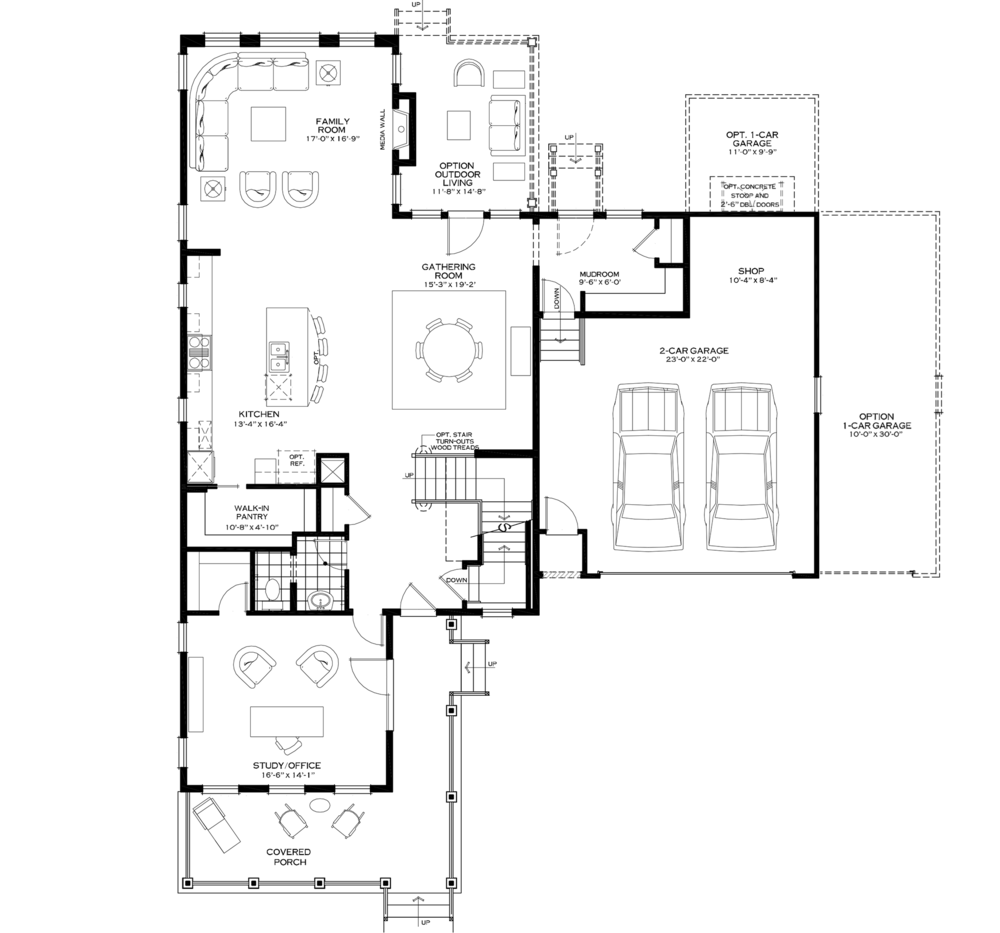 First Floor with Three-Car Garage Option