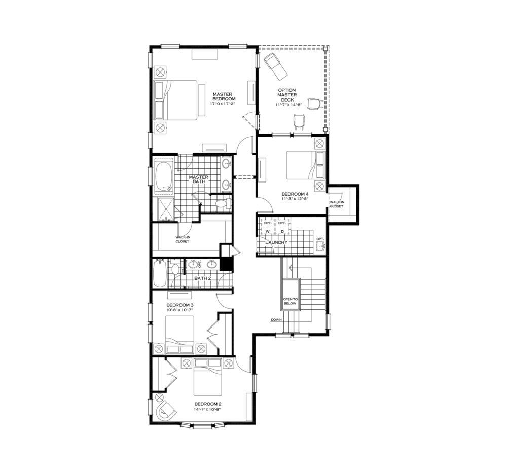 Second Floor with Fourth Bedroom Option