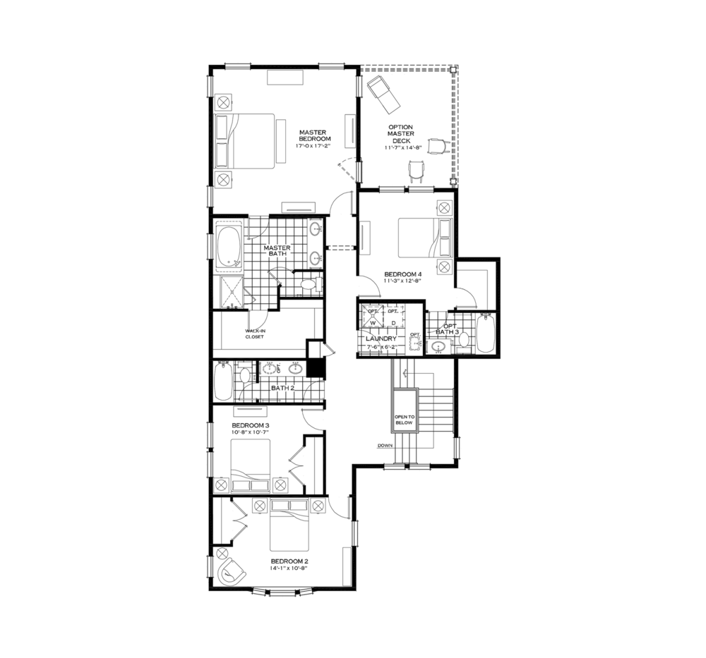 Second Floor with Fourth Bedroom and Bathroom over Mudroom Option