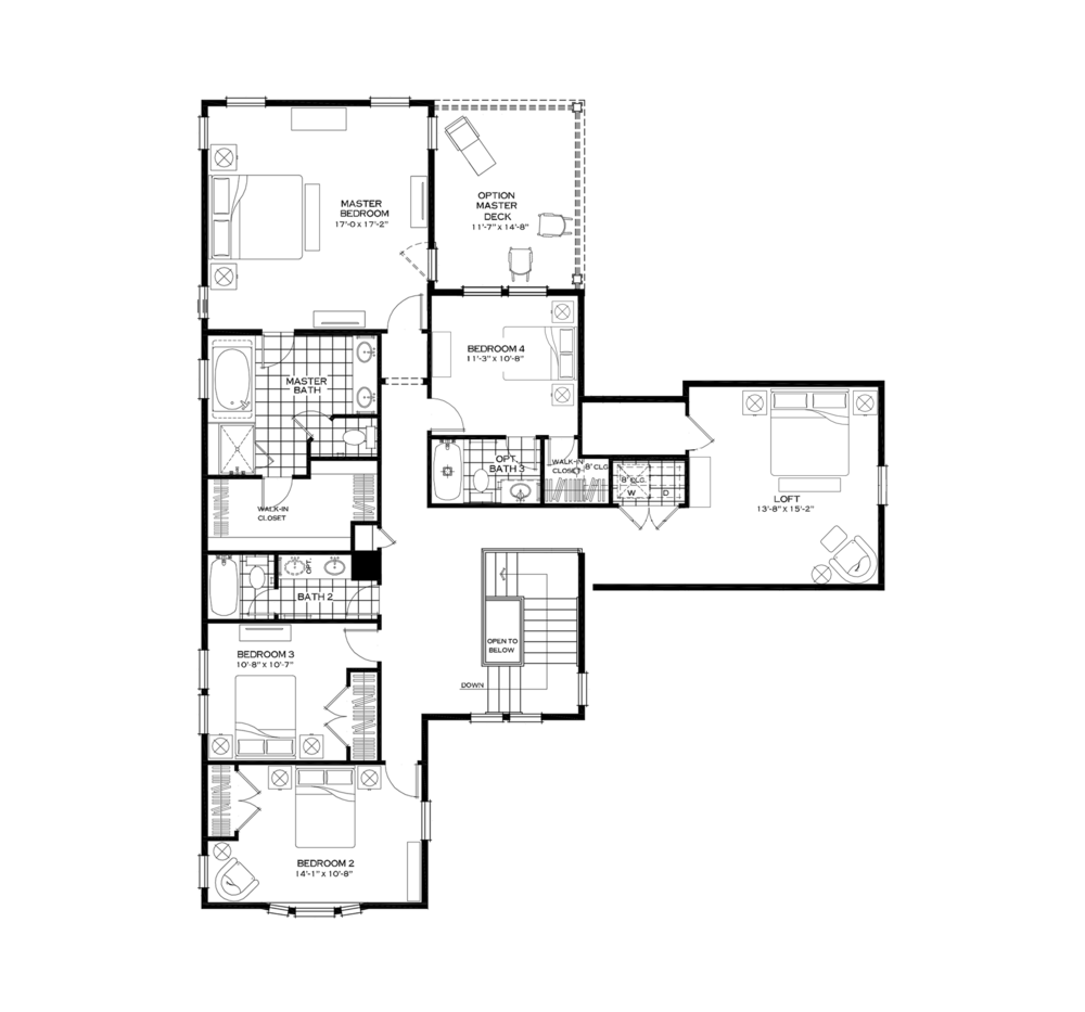 Second Floor with Fourth Bedroom and Large Loft over Garage Option