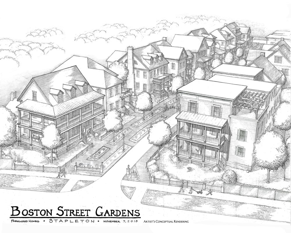 Boston Street Gardens Drawing