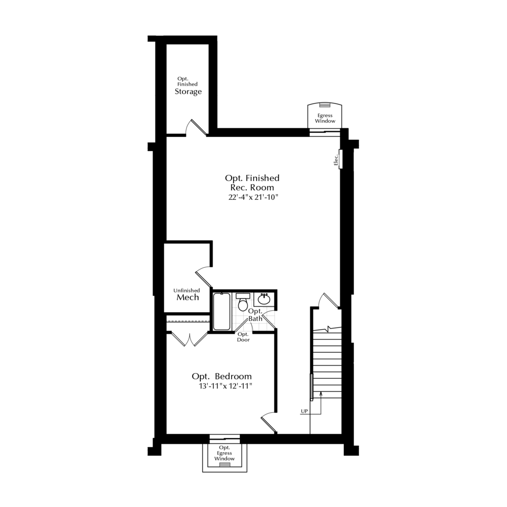 Finished Basement Option with Attached Garage Above