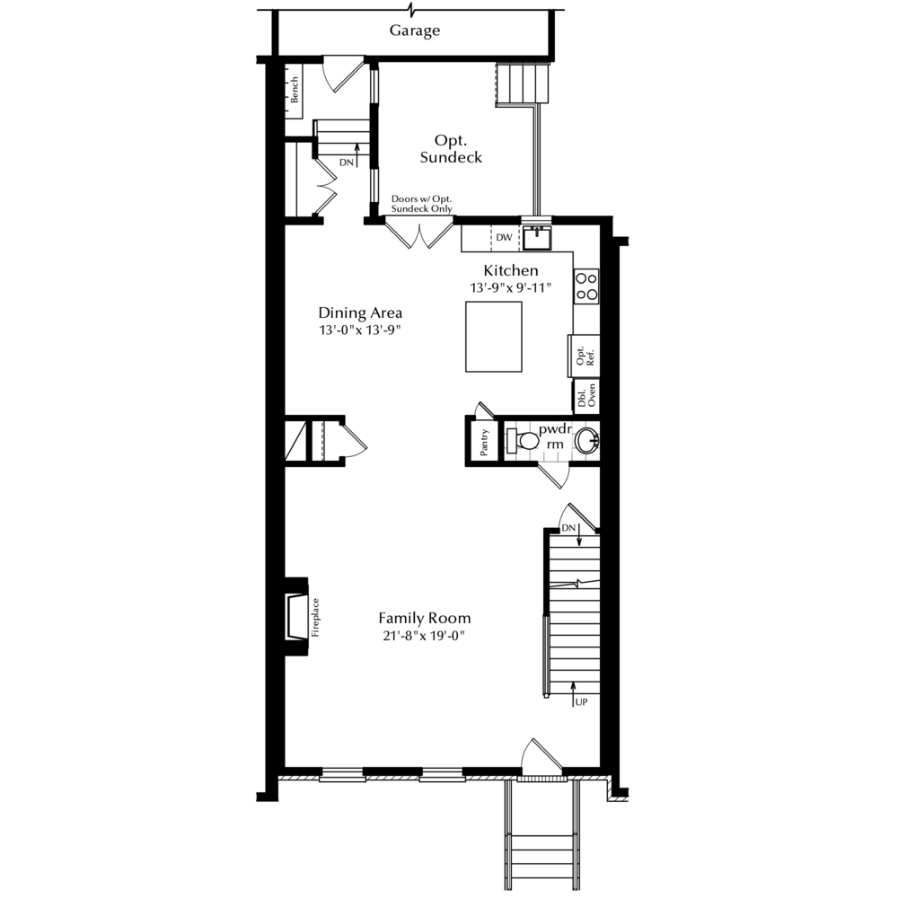 First Floor with Options and Attached Garage