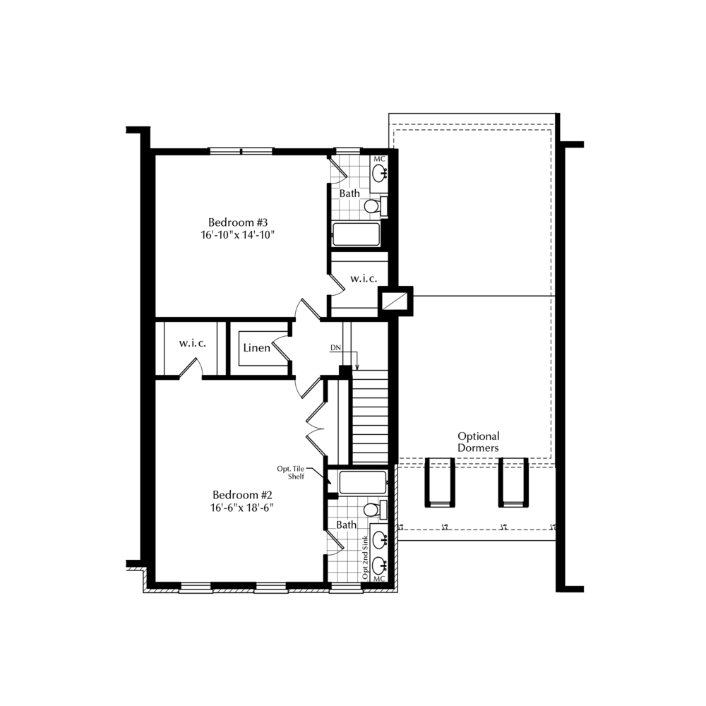 Optional Second Floor with 2 Baths