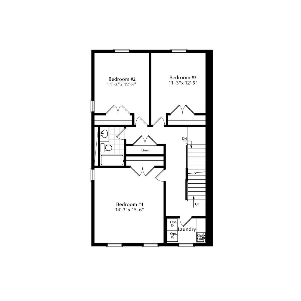 Second Floor with Single Bathroom and Third Floor Master
