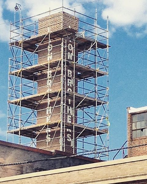 The #lionbrothersbuilding chimney is getting a spruce up! Just a couple months to go before move in day! ... ... ... #westbaltimore #sowebo #baltimore #maryland #development #realestate #historic #preservation