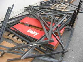 Steel frames ready for reuse